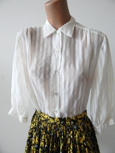 Sweet Vintage 1950s Blouse Semi-Sheer White by VintageZipper