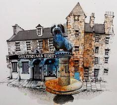 Edinburgh #greyfriars #bobbie #sketch #greyfriarsbobby #edinburgh #usk #citysketch #cityscape #drawing #draw #urbanart #urbansketch #art_collective #architecturefactor #hashtag