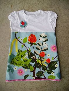 Baby/Kid shirt to dressSupersnelle Meisjesjurk Sewing Kids Clothes, Sewing For Kids, Baby Sewing, Sewing Hacks, Sewing Crafts, Sewing Projects, Fashion Moda, Diy Fashion, Ikea Fabric