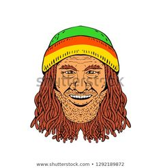 Drawing sketch style illustration of head of a Rastafarian, Rastafari or guy practising Rastafarianism, wearing a beanie and dreadlocks on white background in full color. Drawing Sketches, Drawings, Royalty Free Stock Photos, Beanie, Dreadlocks, Guys, Illustration, People, Pictures