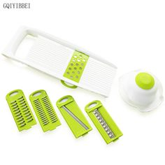 GQIYIBBEI Multifunctional Slicer Vegetables Cutter with 5 Stainless Steel Blade Carrot Grater Onion Dicer Kitchen Accessories #Affiliate