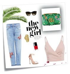 happy hour! by callmeblondie.blog on Polyvore featuring Citizens of Humanity, Stuart Weitzman, Gucci, Michael Kors, Chanel, Chloé.