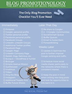 The only Blog Promotion Checklist you will ever need! Learn more at http://thesmh.co/BlogPromotionology - #BlogPromotionology