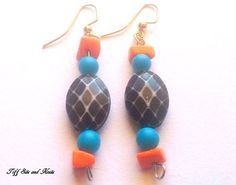 Orange Blue and Black Beaded Earrings with by TiffSitsandKnits, $14.00
