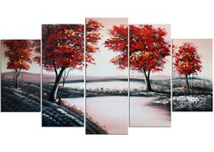 'Pool in Flowery Valley' 5 Piece Original Painting on Wrapped Canvas Set
