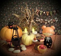 Double, double toil and trouble. Fire burn and caramel bubble! -Momiji doll Pumpkin casts a sweet spell on some delicious apples while her Lucky Cat Black Jack looks on with delight! Happy Halloween Everyone! -photo by me, pinkcherryb :)