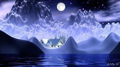 Full Moon, The Dreamers, Fantasy Art, Vibrant Colors, Snow, Holiday, Christmas, World, Outdoor