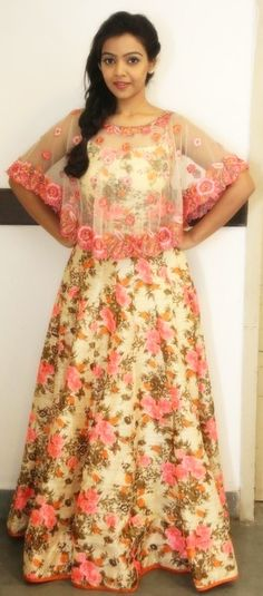 A floral cape inspired long dress