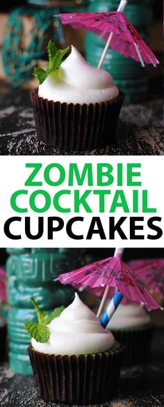 These Zombie Cupcakes are inspired are the perfect tropical cupcake. Inspired by the rum-based tiki cocktail the Zombie Drink, these zombie cupcakes even have a lime and grapefruit frosting for that tart, citrusy-zing!