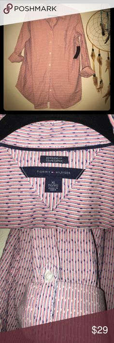 Tommy Hilfiger boyfriend fit button down shirt Tommy Hilfiger women's boyfriend fit tea rose button down shirt. Pink and white stripes with navy stitch detail. New. Tommy Hilfiger Tops Button Down Shirts