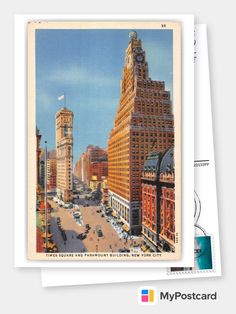New York City, Times Square, Vintage Postcards, Vintage Antiques, Poster, In This Moment, App, Building, Vacation