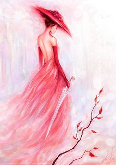 Plum Girl DIY Paint By Diamond Kit is part of Painting Description Diamond Paintings let you create beautiful mosaics without needing to be an artist Pick your canvas up and you& basically - Diy Painting, Painting & Drawing, Dress Painting, Ouvrages D'art, Fine Art, Lady In Red, Pink Lady, Amazing Art, Awesome