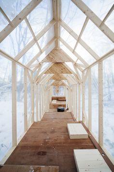 Fun! Transparent timber cabin.
