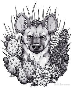 Hyena & Arid Plants by Britt Sorensen
