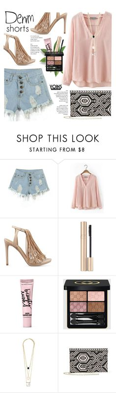 """Denim shorts -Yoins"" by yexyka ❤ liked on Polyvore featuring Kendall + Kylie, Jane Iredale, Beauty Rush, Gucci, jeanshorts, denimshorts, cutoffs, yoins and yoinscollection"