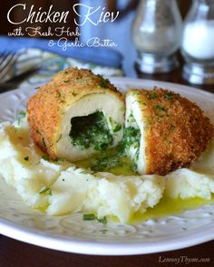Chicken Kiev {with Fresh Herbs & Garlic} | LemonyThyme.com | #comfortfood