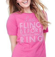 Bachelorette Party Last Fling Before the Ring Rhinestone T-Shirt