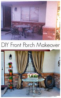 DIY Front Porch Makeover - Yes! Curtains can go outside too! | www.classyclutter.net