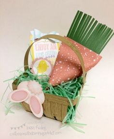 Easter Basket with Berry Basket Die :: Confessions of a Stamping Addict Lorri Heiling Easter Basket Paper Crafting