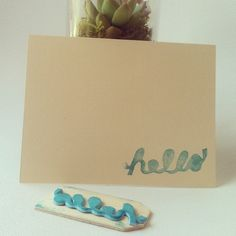 DIY Stamped Greeting Cards (set of 5); created from foam sheets and wood tags [10]