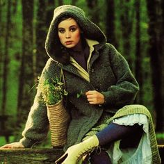 Vintage Knitting Pattern PDF  1970s Chunky Hooded Jacket Coat