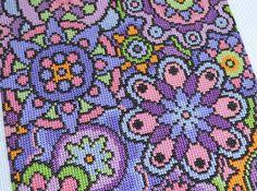 KIT de violeta flores cruz puntada Kit Kit por theworldinstitches