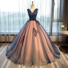Elegant V-neck Ball Gowns,Tulle Evening Dresses,Prom Dresses,26