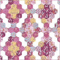 Applique, piecing and quilting free quilt pattern from FreeSpirit Fabrics using Tina Given's cotton fabric collection Feather Flock. Hexagon Patchwork, Hexagon Pattern, Patchwork Designs, Hexagon Quilting, Liberty Quilt, English Paper Piecing, Quilt Patterns Free, Fabric Scraps, Quilting Projects