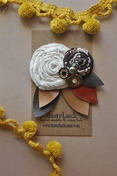 Rustikale Blume Haarspange / / Recycling-Senf und von dustyLuck