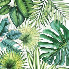 Tropical Leaves - 4 Paper Napkins for decoupage, napkin art, junk journaling, napkin craft, scrapbo Tropical Napkins, Motif Tropical, Tropical Leaves, Tropical Flowers, Tropical Party, Motif Jungle, Jungle Pattern, Paper Serviettes, Deco Jungle