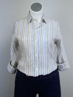 Faconnable L XL Linen Striped Button Down Shirt Oversized 14 Plus Size France #Faconnable #ButtonDownShirt