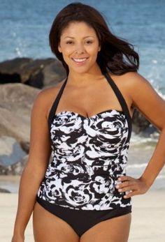 a9e2403618ca2 Beach Belle Riviera Bandeau Halter Swimsuit - Women s Swimsuit Plus Size  Swimsuits