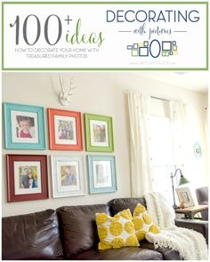 This Colorful family photo wall is an inspiration to get those pictures off printed! Family Gallery walls make a house feel like a home. Decorating With Pictures, Decorating Your Home, Diy Home Decor, Decorating Ideas, Decor Ideas, Family Photo Frames, Family Photos, Family Portraits, Picture Frames