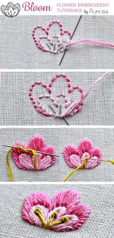 satin stitch flower with pistil stitch embroidery tutorial