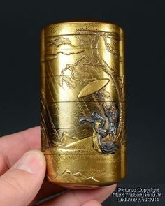 Japanese Gold Lacquer Five-Case Inro, Shakudo, Copper & Gold Figures, 18/19th C