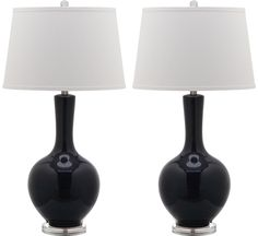 Safavieh Lighting Collection Blanche Gourd Navy 32-inch Table Lamp (Set of 2)