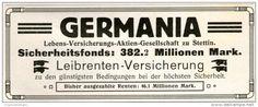 Original-Werbung/ Anzeige 1911 - GERMANIA VERSICHERUNG - ca. 110 x 45 mm