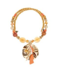 Aris by Treska Coral Multi Bead Coil Necklace