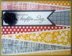 CTMH: Patterned Pennants and Card Chatter-Sympathy stamp sets. Colors are Cranberry, Outdoor Denim, and Honey Scrapbook Paper Crafts, Scrapbook Cards, Scrapbooking, Honey Colour, Close To My Heart, Brighten Your Day, Greeting Cards Handmade, Homemade Cards, Note Cards