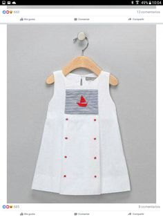 This Petit Confection White & Navy Stripe Sailboat Star Dress - Infant & Toddler by Petit Confection is perfect! Toddler Dress, Toddler Outfits, Baby Dress, Kids Outfits, Infant Toddler, Little Dresses, Little Girl Dresses, Girls Dresses, Kids Frocks