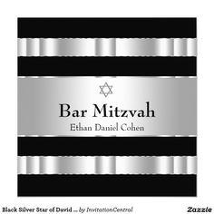 Black Silver Star of David Bar Mitzvah 5.25x5.25 Square Paper Invitation Card