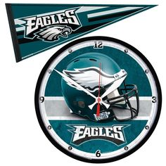 Philadelphia Eagles Round Wall Clock and Pennant Gift Set