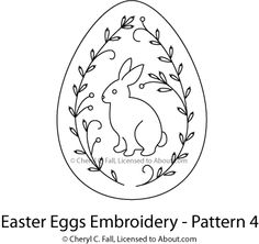Easter Egg 4-Piece Embroidery Pattern Set: Pattern for Egg 4