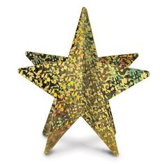 "This 3D Prismatic Star Centerpiece in Gold measures 12"""" H. Made of paper, the centerpiece is printed on both side. Easy assembly. Available in assorted colors. Includes 1. Includes (1) - 3D Prismatic"