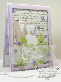 I made this card with MFT Replenishments Heavyweight Card Stock in Grapesicle, Grout Grey, Sweet Tooth, Natural and Sour Apple. I used MFT Bride and Groom Die-namics and the LJD Together Forever Stamp set. I also used the Romantic Script Background, the Pierced Fishtail Flags STAX and the Leaf-Filled Flourish Die-namics. photo MFTbrideandgroom_edited-1RS1_zpse8ddcf47.jpg