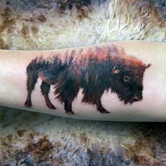 Discover forceful sovereignty over the wild with the best bison tattoo designs for men. Roam your way through cool animal buffalo ink ideas. Full Sleeve Tattoos, Cover Up Tattoos, Forest Forearm Tattoo, Bison Tattoo, Buffalo Tattoo, Tattoo Addiction, Geometric Tattoo Arm, Mountain Tattoo, Hand Tattoos