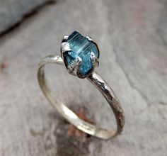 Raw Blue Tourmaline Ring Rough Recycled Sterling Silver Stacking Ring Pastel Stone indicolite byAngeline