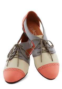 Cutout and About Town Flat in Coral - Coral, Tan / Cream, Grey, Cutout, Menswear Inspired, Colorblocking, Flat, Lace Up, Faux Leather