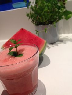 Summer Love - This one is not only delicious but will help you feel fab! 1/3 small watermelon 1-2 cm piece of ginger (half a thumb maybe) - wash first and peel 1/2 lime, the juice Fresh mint (handfull) 1 cup water (add more later if you like) Wash the watermelon and peel the part you are going to use. Throw in your blender with everything else, blend well and enjoy! :)