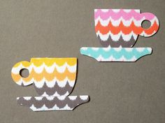 Fabric Magnets  Retro Coffee Cups & Saucers  by HawthornBramble, $4.50